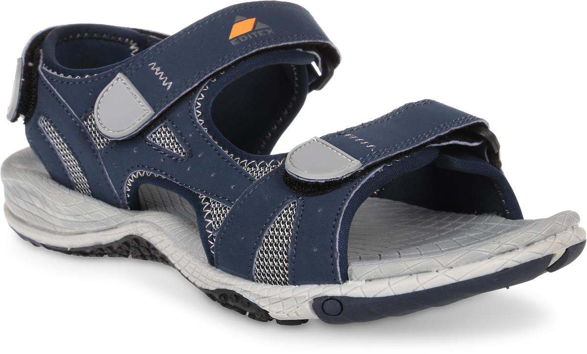 Сандалии мужские Editex, цвет: темно-синий. S7018-2. Размер 45S7018-2Модные мужские сандалии от Editex выполнены из текстиля и искусственной кожи. Внутренняя поверхность из текстиля не натирает. Ремешки с застежками-липучками надежно зафиксируют модель на ноге. Стелька из материала ЭВА обеспечивает комфорт при движении. Подошва дополнена рифлением.