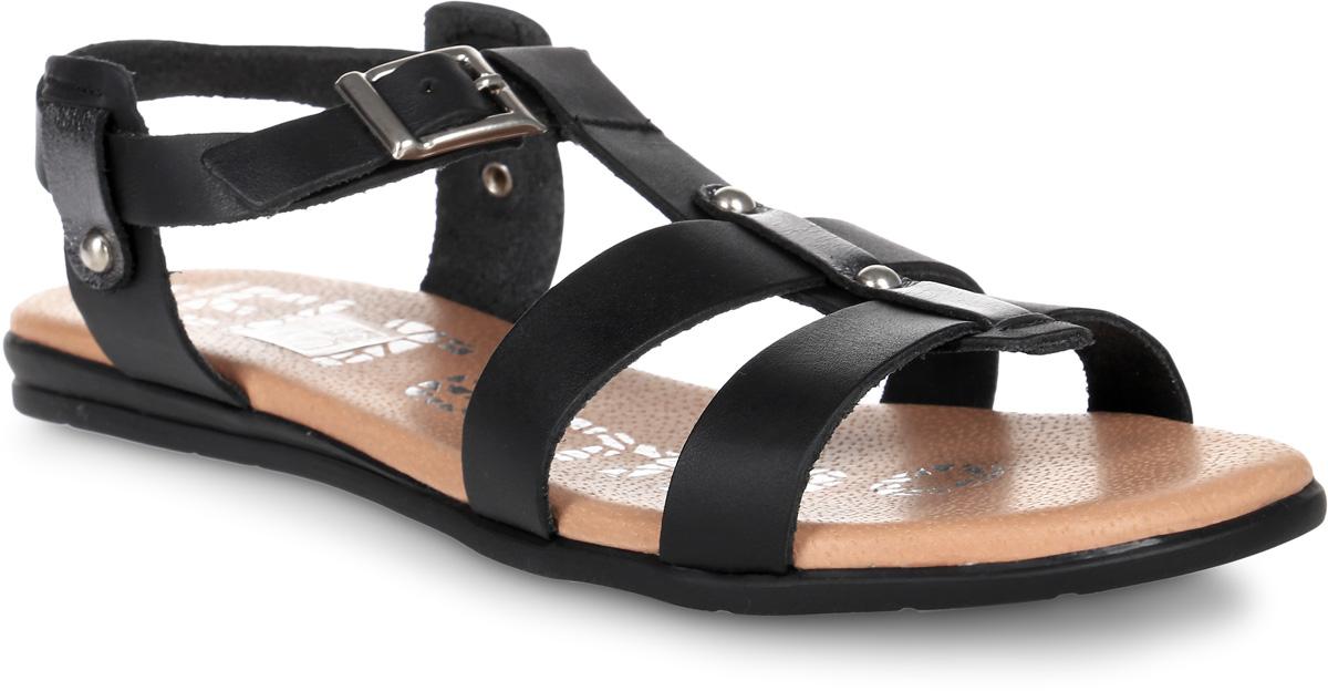 Сандалии женские El Tempo, цвет: черный. ESA18_3301. Размер 37ESA18_3301_BLACK-PLOMOМодные и удобные сандалии от El Tempo изготовлены из натуральной гладкой кожи. Ремешок с прямоугольной застежкой-пряжкой отвечает за надежную фиксацию модели на ноге. Длина ремешка регулируется за счет болта. Внутренняя поверхность и стелька выполнены из мягкой натуральной кожи, гарантирующей комфорт при движении. Резиновая подошва дополнена рифлением в виде цветочного рисунка.