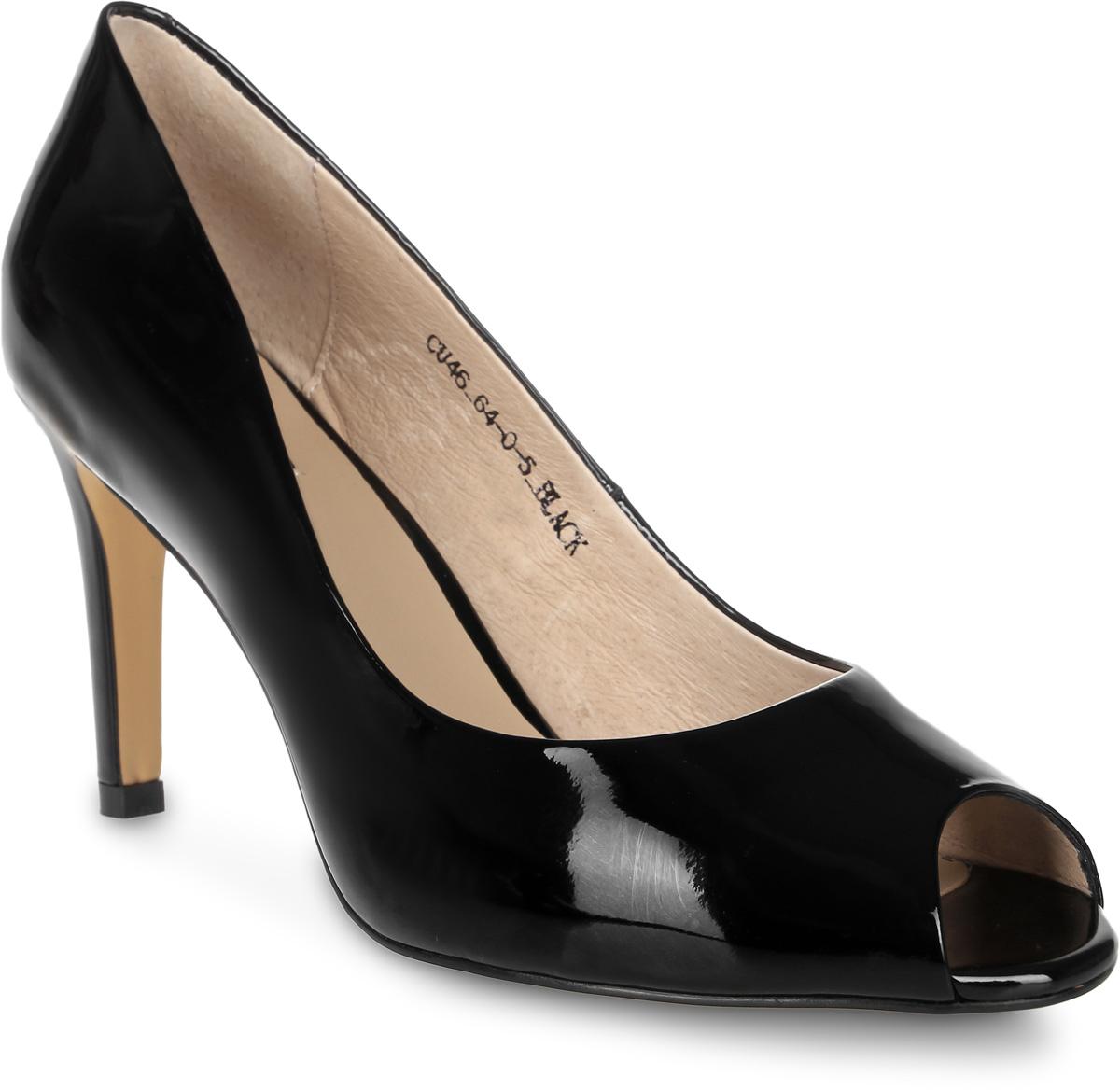 Туфли женские El Tempo, цвет: черный. CU46_64-0-5. Размер 35CU46_64-0-5_BLACKСтильные туфли от El Tempo - незаменимая вещь в гардеробе каждой женщины. Модель выполнена из натуральной лакированной кожи. Открытый носок добавляет женственности в образ. Подкладка и стелька, изготовленные из натуральной кожи, обеспечат уют и предотвратят натирание. Высокий каблук устойчив. Подошва с рифлением обеспечивает идеальное сцепление с разными поверхностями. Роскошные туфли помогут вам создать элегантный образ.