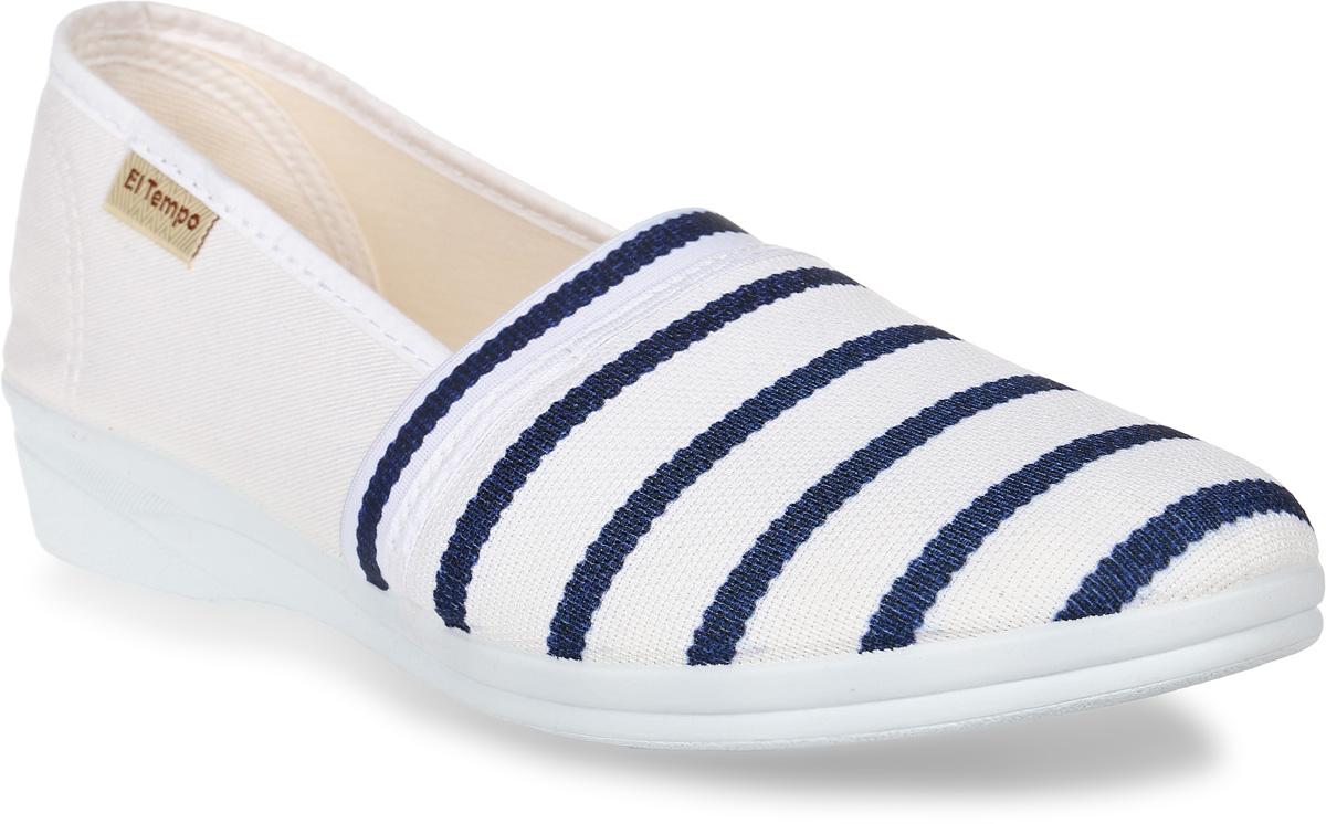 Туфли женские El Tempo, цвет: белый, синий. ER25_216. Размер 37ER25_216_MULTI-BLUEУдобные женские туфли от El Tempo изготовлены из текстиля и оформлены декоративной тесьмой на мысе, ярлычком с названием бренда сбоку. Внутренняя поверхность и стелька, выполненные из текстиля, обеспечивают комфорт при движении. Резиновая подошва дополнена рифленой поверхностью.