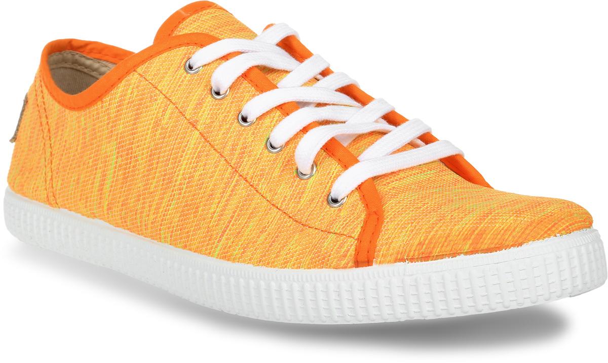 Кеды женские El Tempo, цвет: оранжевый. ENF3_110-07_ORANGE. Размер 39ENF3_110-07_ORANGEЯркие стильные кеды от El Tempo очаруют вас с первого взгляда. Модель выполнена из текстиля и дополнена на заднике кожаной нашивкой с названием бренда. Классическая шнуровка надежно зафиксирует обувь на ноге. Подкладка и стелька, изготовленные из текстиля, предотвратят натирание и обеспечат уют. Подошва с рифлением обеспечивает идеальное сцепление с разными поверхностями. Эффектные кеды позволят вам выделиться среди окружающих!