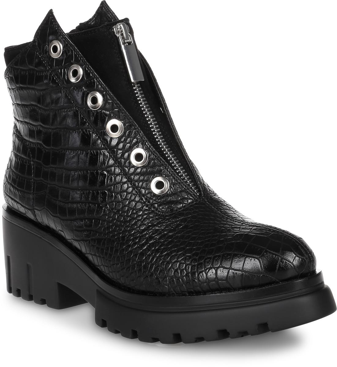 Ботинки женские Avenir Premium, цвет: черный. 2323-MI62450B. Размер 362323-MI62450BОригинальные ботинки от Avenirt заинтересуют вас своим дизайном с первого взгляда! Модель выполнена из искусственной кожи с двойным подъемом. Наружный подъем оформлен тиснением под рептилию и дополнен перфорацией для шнуровки, внутренний подъем дополнен молнией. Стелька, выполненная из байки, защитит ваши ноги от холода и обеспечит комфорт. Ботинки застегиваются на застежку-молнию, расположенную на одной из боковых сторон. Умеренной высоты каблук и подошва с рельефным протектором обеспечивают отличное сцепление на любой поверхности. Модные ботинки покорят вас своим оригинальным дизайном и удобством!
