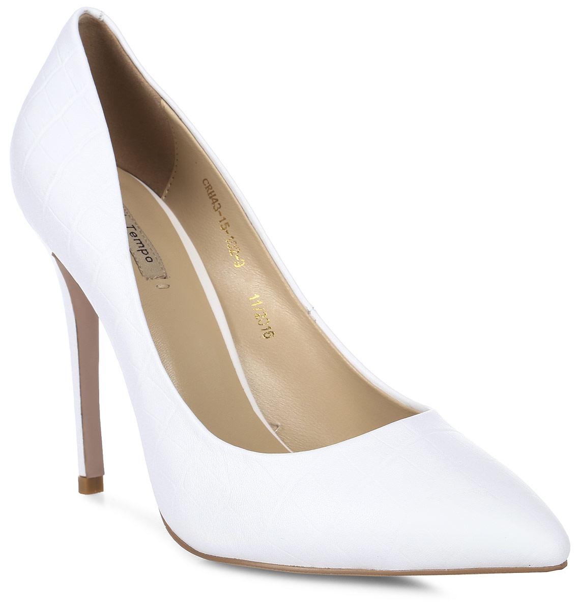 Туфли женские El Tempo, цвет: белый. CRH43_15-102-9. Размер 39CRH43_15-102-9Элегантные женские туфли от El Tempo изготовлены из натуральной высококачественной кожи и оформлены тиснением под рептилию. Внутренняя поверхность и стелька из мягкой натуральной кожи обеспечивают комфорт при ходьбе. Заостренный носок и высокий каблук-шпилька завершают композицию. Каблук и подошва, выполненные из качественного кожволона, дополнены рифленой поверхностью.