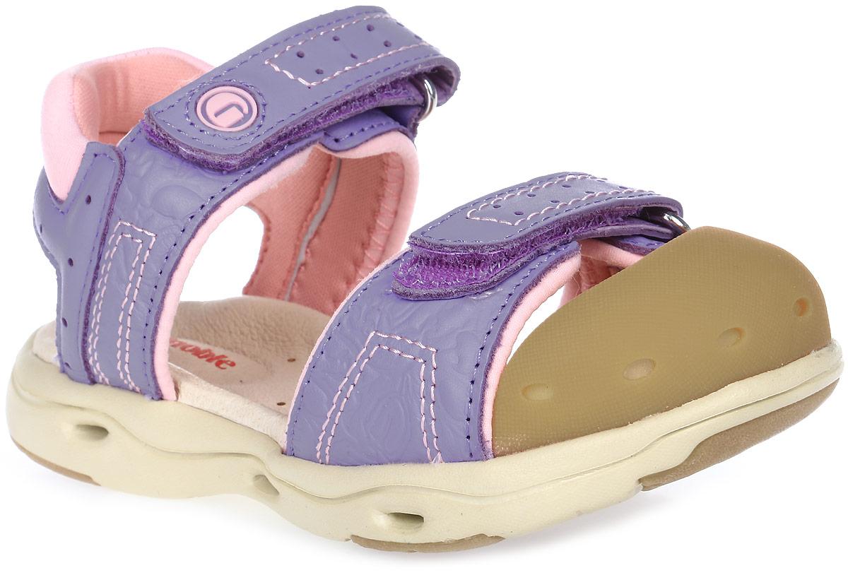 Сандалии для девочки Ginoble, цвет: сиреневый, розовый. TXG302. Размер 26TXG302Сандалии для девочки Ginoble - это анатомическая обувь для детей, созданная с применением современных немецких технологий и оборудования. Верх выполнен из натуральной кожи. Текстильная подкладка и анатомическая стелька из натуральной кожи создают комфорт во время движения. Рельефная подошва изготовлена из термопластичной резины. Модель застегивается на липучки. Широкая носочная часть позволяет пальчикам чувствовать себя свободно и комфортно. Мысок сандалий защищен мягким силиконом. Мягкая вставка на заднике защищает кожу от повреждений во время движения. Дизайн разработан с учетом биомеханики мышц и несовершенства детской походки. Анатомическая обувь предназначена для здоровых детей с целью профилактики заболеваний детской стопы, также помогает скорректировать походку и защищает ножки ребенка от травм.