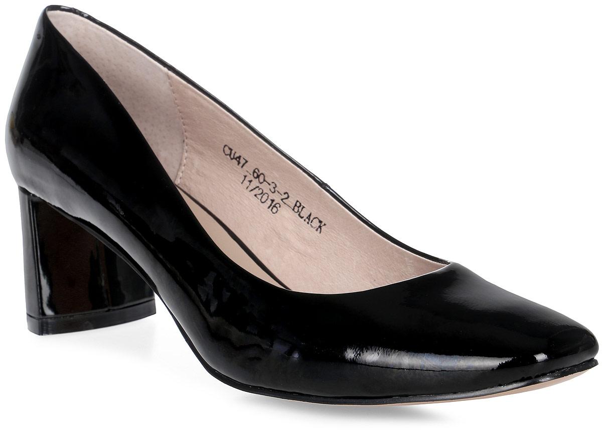 Туфли женские El Tempo, цвет: черный. CU47_60-3-2. Размер 37CU47_60-3-2_BLACKСтильные туфли от El Tempo - незаменимая вещь в гардеробе каждой женщины. Модель выполнена из натуральной лакированной кожи. Закрытый закругленный мыс выглядит очень женственно и элегантно. Подкладка и стелька, изготовленные из натуральной кожи, обеспечат комфорт и предотвратят натирание. Толстый каблук устойчив. Подошва с рифлением гарантирует идеальное сцепление с разными поверхностями. Роскошные туфли помогут вам создать модный образ.
