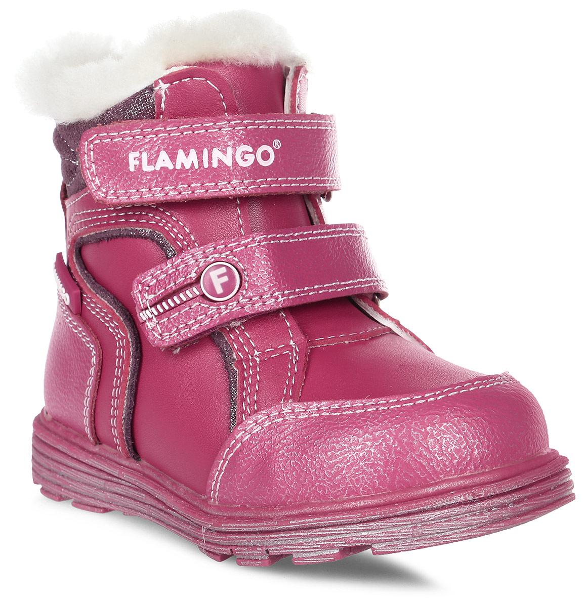 Ботинки для девочки Flamingo, цвет: розовый. W6XY313. Размер 22W6XY313Модные ботинки для девочки от Flamingo, выполненные из натуральной и искусственной кожи, оформлены меховой оторочкой. Подкладка и стелька из натуральной шерсти не дадут ногам замерзнуть. Ремешки с застежками-липучками надежно зафиксируют модель на ноге. Боковая застежка-молния позволяет легко снимать и надевать модель. Подошва дополнена рифлением.