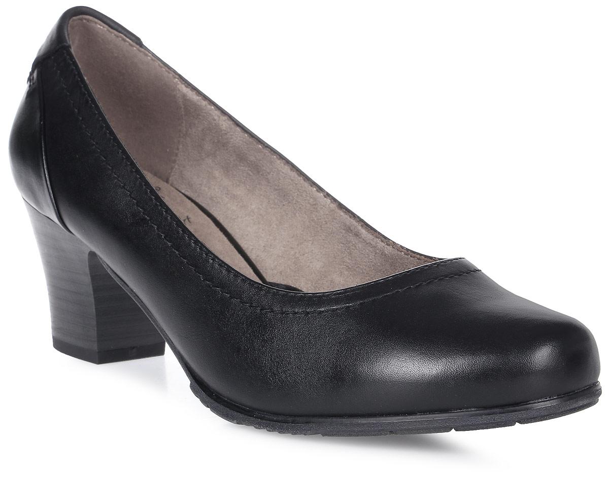Туфли женские Jana, цвет: черный. 8-8-22404-28-007/224. Размер 408-8-22404-28-007/224Модные женские туфли от Jana выполнены из натуральной кожи. Внутренняя поверхность и стелька из текстиля гарантируют комфорт. Подошва и каблук средней высоты дополнены рифлением.