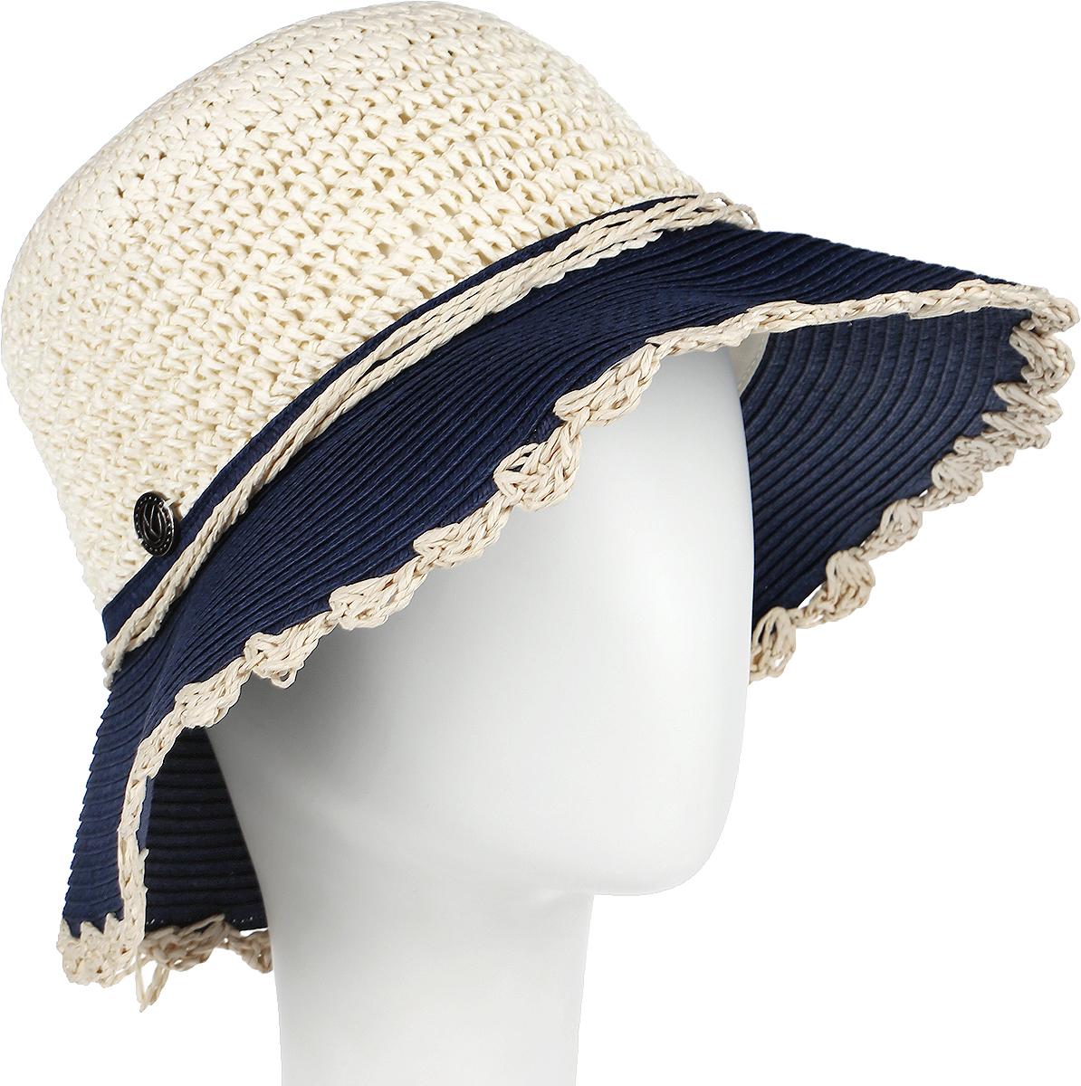 Шляпа женская R.Mountain Romy, цвет: бежевый, темно-синий. 77-140-32-57. Размер M (57)77-140-32-57Летняя женская шляпа R.Mountain Romy станет незаменимым аксессуаром для пляжа и отдыха на природе. Такая шляпка не только защитит вас от солнца, но и станет стильным дополнением вашего образа.Модель украшена соломенной лентой вокруг тульи. Края полей также отделаны оригинальными вензелями из соломки. Плетение шляпы обеспечивает необходимую вентиляцию и комфорт даже в самый знойный день. Шляпа легко восстанавливает свою форму после сжатия.Эта элегантная легкая шляпка подчеркнет вашу неповторимость и дополнит ваш повседневный образ.