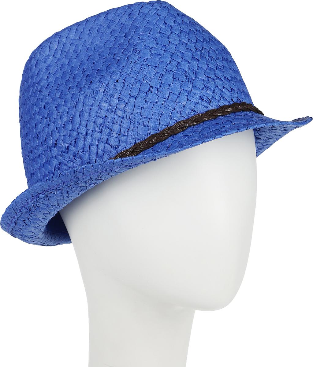Шляпа женская Canoe Togo, цвет: синий. 1964314. Размер 561964314Стильная летняя шляпа Canoe Togo, выполненная из искусственной соломы, станет незаменимым аксессуаром для пляжа и отдыха на природе, и обеспечит надежную защиту головы от солнца. Шляпа оформлена декоративным плетеным ремешком. Плетение шляпы обеспечивает необходимую вентиляцию и комфорт даже в самый знойный день. Шляпа легко восстанавливает свою форму после сжатия.Такая шляпа подчеркнет вашу неповторимость и дополнит ваш повседневный образ.