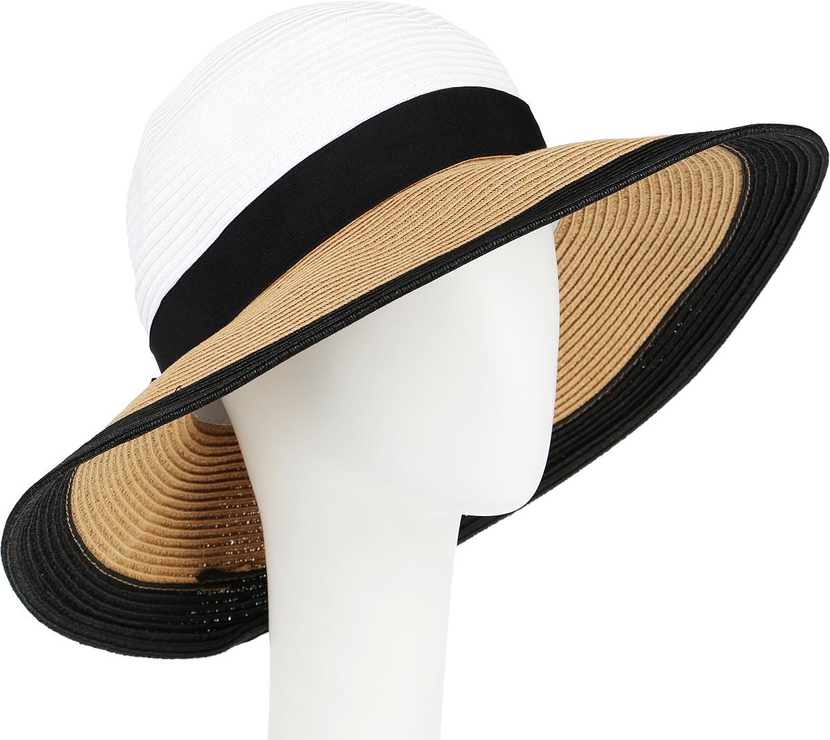 Шляпа женская Canoe Elegance, цвет: белый, черный, песочный. 1966133. Размер 561966133Очаровательная летняя шляпа Canoe Elegance, выполненная из искусственной соломы и прочного полиэстера, станет незаменимым аксессуаром для пляжа и отдыха на природе. Широкие поля шляпы обеспечат надежную защиту от солнечных лучей.Шляпа оформлена декоративной лентой с бантом. Плетение шляпы обеспечивает необходимую вентиляцию и комфорт даже в самый знойный день. Шляпа легко восстанавливает свою форму после сжатия.Стильная шляпа с элегантными волнистыми полями подчеркнет вашу неповторимость и дополнит ваш повседневный образ.