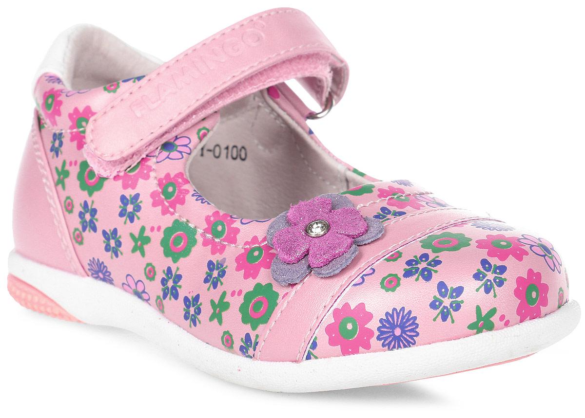 Туфли для девочки Flamingo, цвет: розовый. 71T-XY-0100. Размер 2371T-XY-0100Модные туфли для девочки от Flamingo, выполненные из искусственной и натуральной кожи, оформлены цветочным принтом. Мыс модели украшен декоративным цветком со стразом. Ремешок с застежкой-липучкой надежно зафиксирует модель на ноге. Внутренняя поверхность и стелька из натуральной кожи обеспечат комфорт при движении. Стелька дополнена супинатором, который предотвращает плоскостопие. Подошва дополнена рифлением.