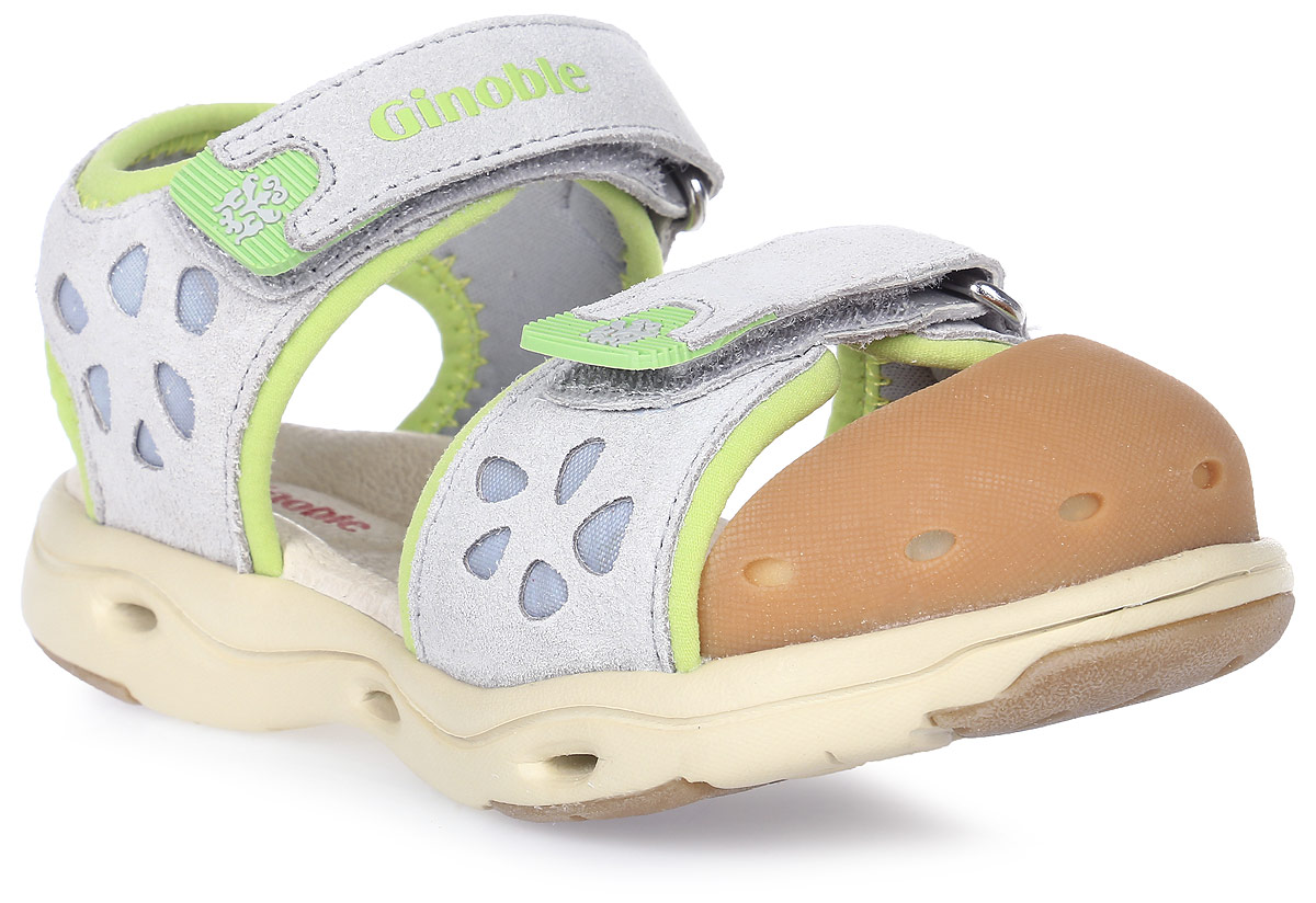 Сандалии детские Ginoble, цвет: светло-серый, зеленый. TXG305. Размер 24TXG305Сандалии Ginoble - это анатомическая обувь для детей, созданная с применением современных немецких технологий и оборудования. Верх выполнен из натуральной замши с текстильными вставками и по бокам дополнен перфорацией. Текстильная подкладка и анатомическая стелька из натуральной кожи создают комфорт во время движения. Рельефная подошва изготовлена из термопластичной резины. Модель застегивается на липучки. Широкая носочная часть позволяет пальчикам чувствовать себя свободно и комфортно. Мысок сандалий защищен мягким силиконом. Мягкий кант задней части защищает кожу от повреждений во время движения. Дизайн разработан с учетом биомеханики мышц и несовершенства детской походки. Анатомическая обувь предназначена для здоровых детей с целью профилактики заболеваний детской стопы, также помогает скорректировать походку и защищает ножки ребенка от травм.
