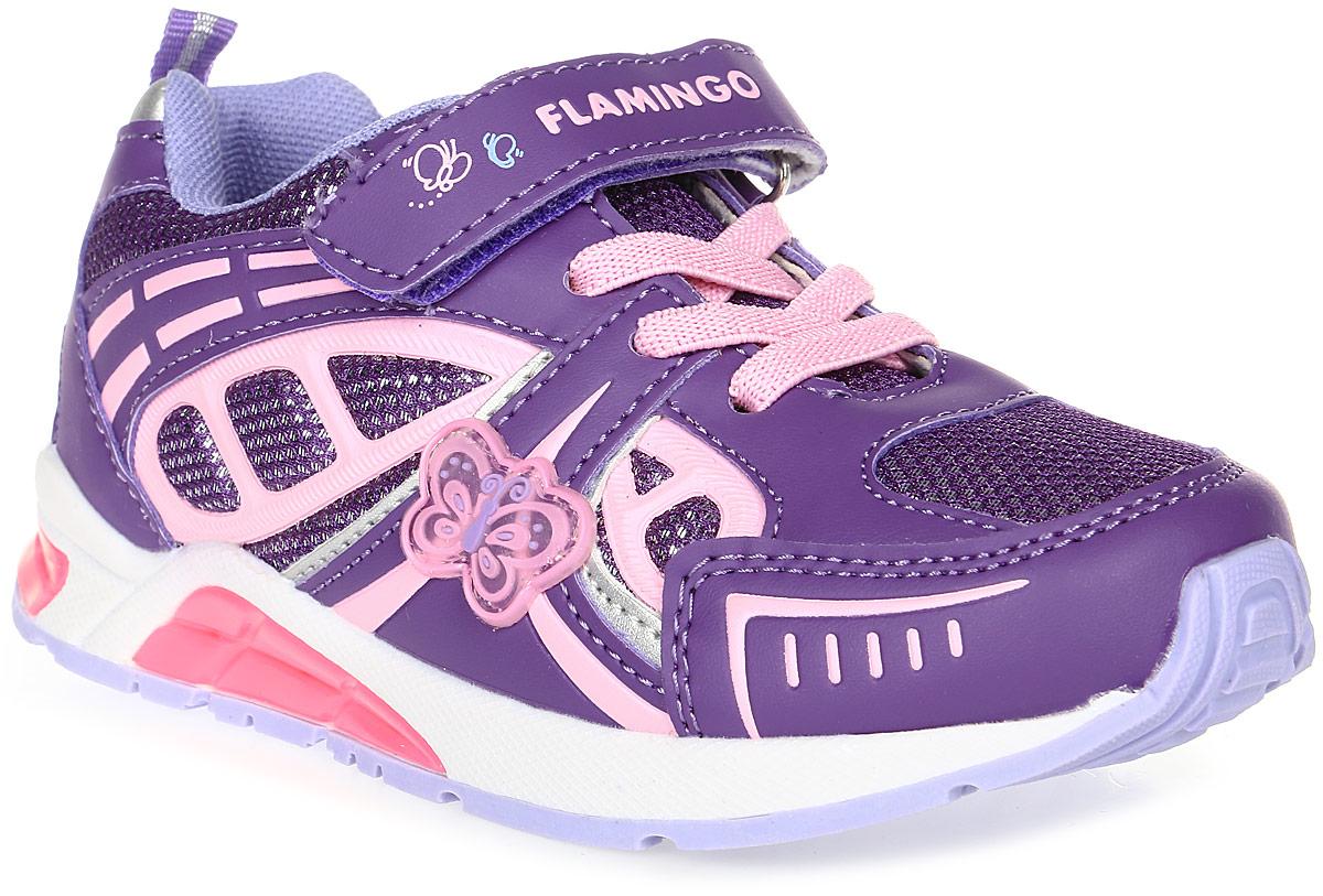 Кроссовки для девочки Flamingo, цвет: фиолетовый, розовый. 71K-BK-0040. Размер 2771K-BK-0040Модные кроссовки для девочки от Flamingo, выполненные из текстиля и искусственной кожи, оформлены декоративными нашивками. Подкладка из текстиля не натирает. Стелька из натуральной кожи комфортна при движении. Ремешок с застежкой-липучкой и эластичная шнуровка надежно зафиксируют модель на ноге. Подошва дополнена рифлением.