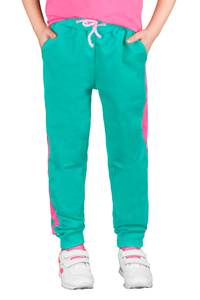 Брюки спортивные для девочки Boom!, цвет: зеленый, розовый. 70800_BLG_вар.2. Размер 122/128, 7-8 лет70800_BLG_вар.2Спортивные брюки для девочки Boom! выполнены из хлопка с добавлением полиэстера и лайкры. Модель снабжена резинкой на талии с затягивающимся шнурком для регулировки посадки и боковыми карманами, дополнена лампасами розового цвета. Низ брючин отделан эластичным материалом. Модель имеет свободный крой и не стесняет движений. Удобные и практичные брюки отлично подходят для занятий физкультурой и летних прогулок.