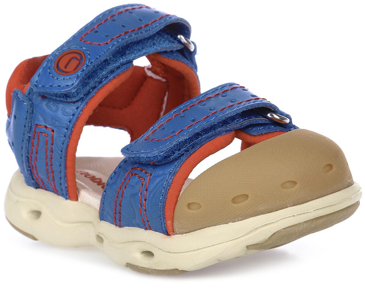Сандалии для мальчика Ginoble, цвет: синий, красный. TXG302. Размер 23TXG302Сандалии для мальчика Ginoble - это анатомическая обувь для детей, созданная с применением современных немецких технологий и оборудования. Верх выполнен из натуральной кожи. Текстильная подкладка и анатомическая стелька из натуральной кожи создают комфорт во время движения. Рельефная подошва изготовлена из термопластичной резины. Модель застегивается на липучки. Широкая носочная часть позволяет пальчикам чувствовать себя свободно и комфортно. Мысок сандалий защищен мягким силиконом. Мягкий кант задней части защищает кожу от повреждений во время движения. Дизайн разработан с учетом биомеханики мышц и несовершенства детской походки. Анатомическая обувь предназначена для здоровых детей с целью профилактики заболеваний детской стопы, также помогает скорректировать походку и защищает ножки ребенка от травм.