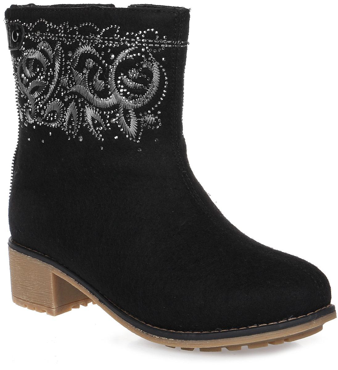 Ботинки женские Cooper, цвет: черный. 15511Z-1-2L. Размер 3815511Z-1-2LСтильные женские ботинки Cooper выполнены из войлока и дополнены застежкой-молнией. Подошва оснащена рифлением. Такие ботинки отлично подойдут для тех, кто хочет подчеркнуть свою индивидуальность.