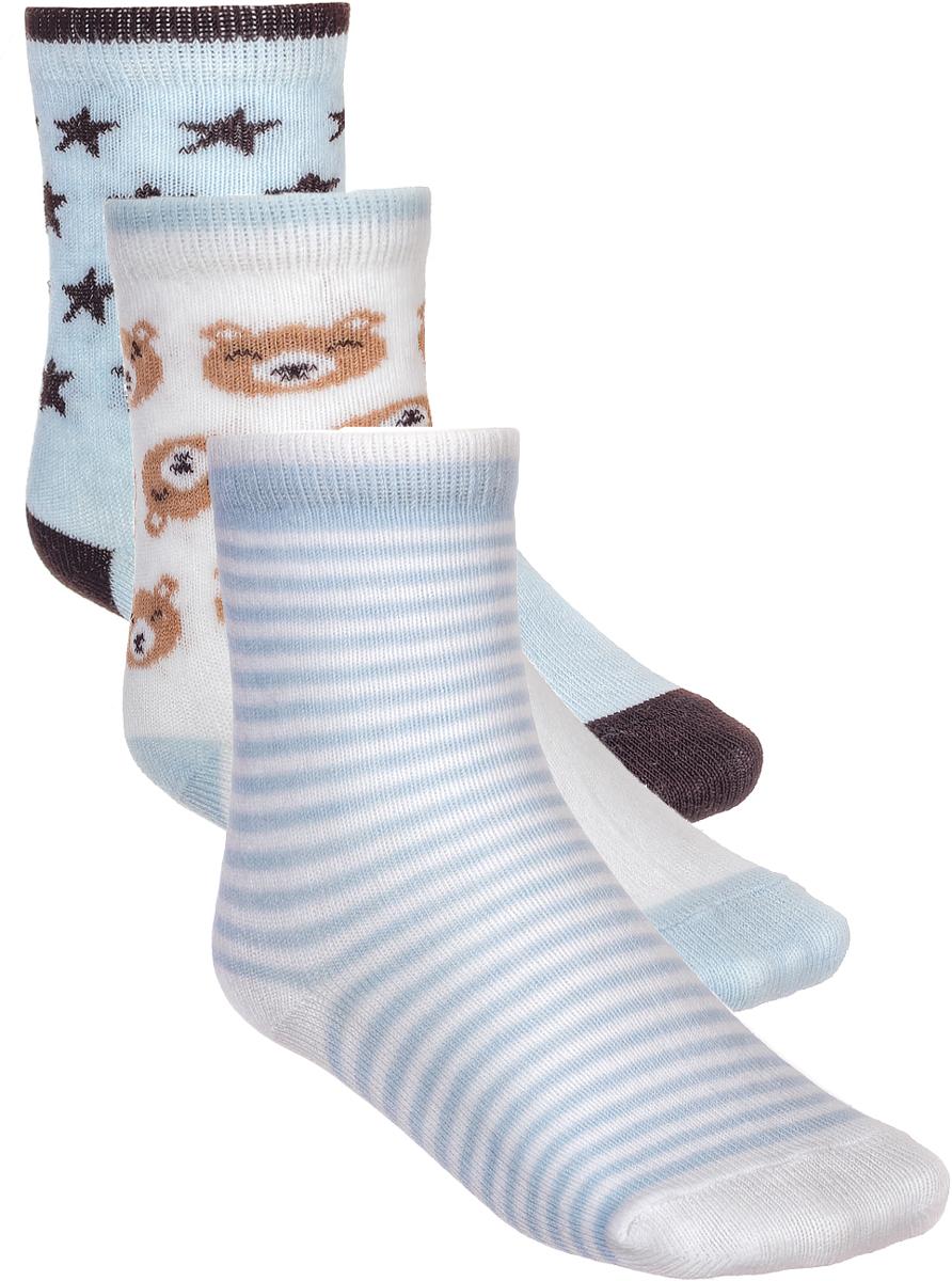 Носки детские Baykar, цвет: голубой, белый, 3 пары. 161915-9. Размер 10,5/12, 6-12 месяцев161915-9Детские носки Baykar изготовлены из высококачественного эластичного хлопка с добавлением полиамида. Носки имеют эластичную резинку, которая надежно фиксирует носки на ноге. В комплект входит 3 пары носков.