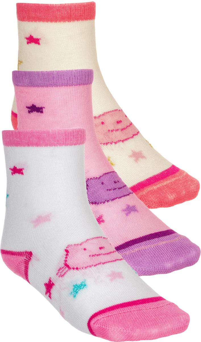 Носки для девочки Baykar, цвет: белый, розовый, 3 пары. 190212-22. Размер 14,5/16, 3 года190212-22Детские носки Baykar изготовлены из высококачественного эластичного хлопка с добавлением полиамида. Носки имеют эластичную резинку, которая надежно фиксирует носки на ноге. В комплект входит 3 пары носков.