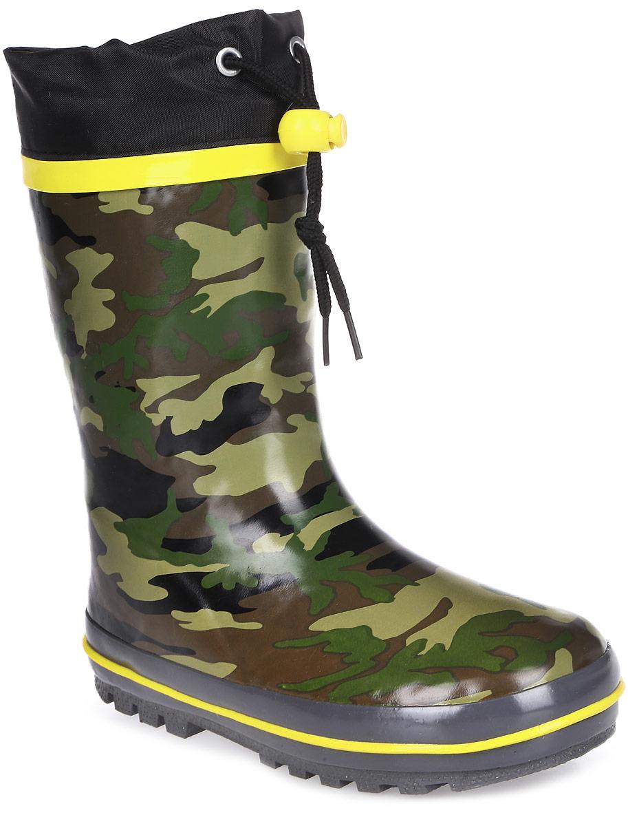 Сапоги резиновые для мальчика Flamingo, цвет: хаки, желтый, черный. 71-HL-0018. Размер 3071-HL-0018Утепленные резиновые сапоги от Flamingo - идеальная обувь в холодную дождливую погоду для вашего ребенка. Сапоги, выполненные из качественной резины, оформлены принтом в стиле милитари. Подкладка и стелька из шерсти не дадут ногам вашего ребенка замерзнуть. Текстильный верх голенища регулируется в объеме за счет шнурка с бегунком. Подошва дополнена протектором.