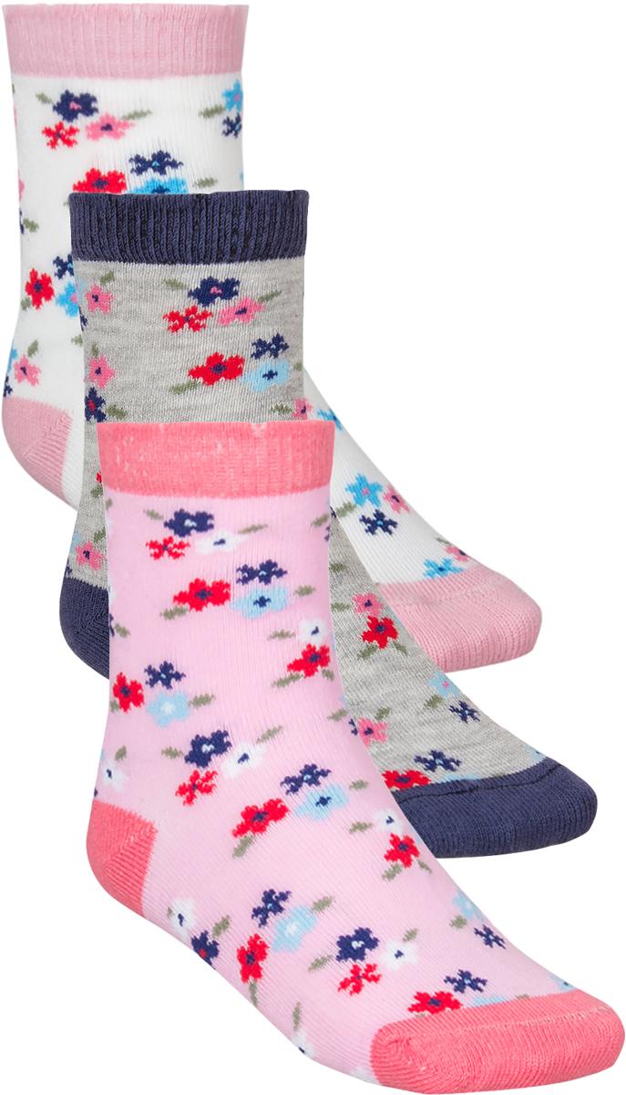 Носки для девочки Baykar, цвет: розовый, серый, белый, 3 пары. 305512-22. Размер 14,5/16, 3 года305512-22Детские носки Baykar изготовлены из высококачественного эластичного хлопка с добавлением полиамида. Носки имеют эластичную резинку, которая надежно фиксирует носки на ноге. В комплект входит 3 пары носков.