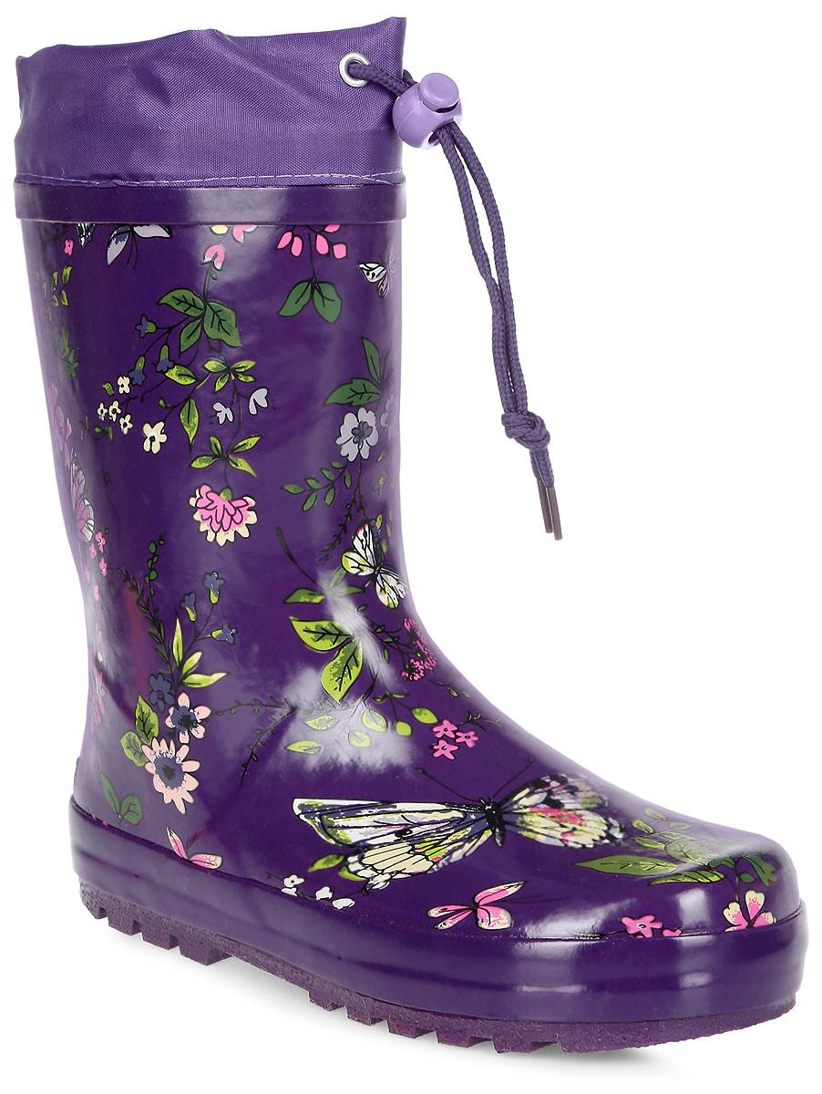 Сапоги резиновые для девочки Flamingo, цвет: темно-фиолетовый, зеленый, розовый. 71-HL-0009. Размер 2971-HL-0009Резиновые сапоги от Flamingo - идеальная обувь в холодную дождливую погоду для вашего ребенка. Сапоги, выполненные из качественной резины, оформлены цветочным принтом. Подкладка и стелька из текстиля обеспечат комфорт. Текстильный верх голенища регулируется в объеме за счет шнурка с бегунком. Подошва дополнена протектором.