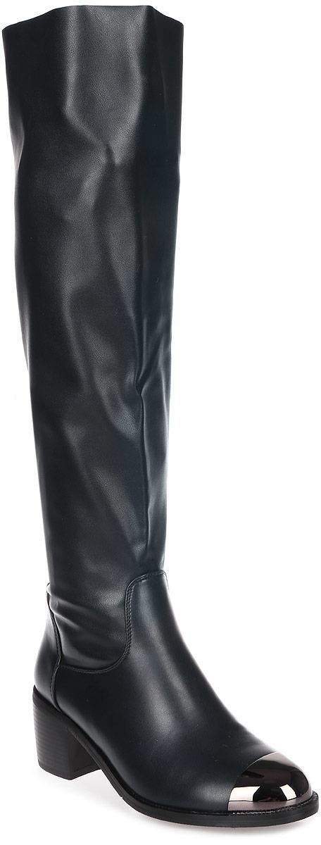Сапоги женские Avenir Premium, цвет: темно-синий. 2123-MI62432T. Размер 382123-MI62432TШикарные сапоги от Avenir помогут вам создать яркий незабываемый образ! Модель выполнена из искусственной кожи. На мысе обувь оформлена металлическим декором. Сапоги застегиваются сзади на застежку-молнию. Подкладка и стелька, выполненные из байки, комфортны при ходьбе. Толстый невысокий каблук устойчив. Подошва с рифлением защищает изделие от скольжения. Стильные сапоги - основа гардероба каждой женщины.