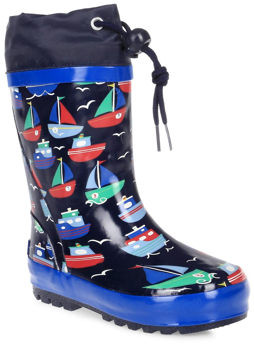 Сапоги резиновые для мальчика Flamingo, цвет: темно-синий, синий, красный. 71-HL-0015. Размер 2571-HL-0015Утепленные резиновые сапоги от Flamingo - идеальная обувь в холодную дождливую погоду для вашего ребенка. Сапоги, выполненные из качественной резины, оформлены принтом с изображением корабликов. Подкладка и стелька из шерсти не дадут ногам вашего ребенка замерзнуть. Текстильный верх голенища регулируется в объеме за счет шнурка с бегунком. Подошва дополнена протектором.