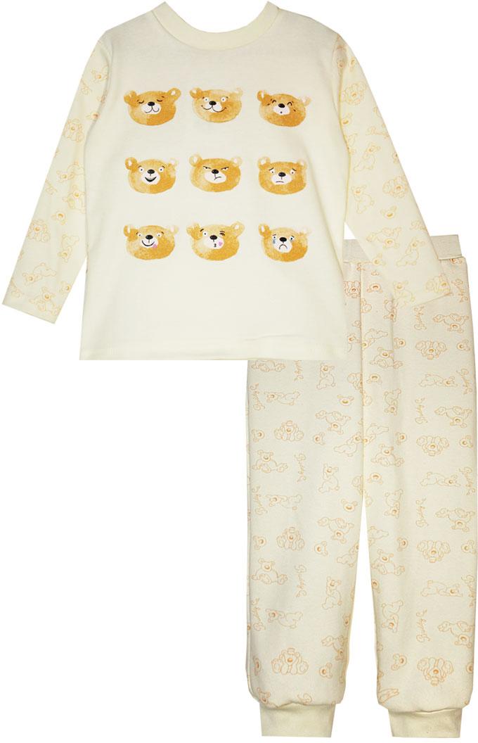 Пижама для девочки КотМарКот, цвет: светло-бежевый, оранжевый. 16124. Размер 12216124Пижама для девочки КотМарКот, состоящая из лонгслива и брюк, выполнена из натурального хлопка. Лонгслив с длинными рукавами и круглым вырезом горловины. Брюки имеют эластичную резинку на поясе. Низ брючин дополнен трикотажными манжетами.