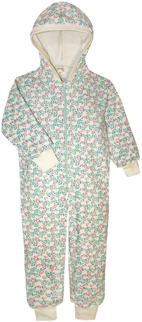 Пижама для девочки КотМарКот, цвет: бирюзовый, розовый, белый. 16926. Размер 110/11616926Пижама для девочки КотМарКот выполнена из натурального хлопка. Модель с капюшоном и длинными рукавами застегивается на застежку-молнию. Манжеты рукавов и низ брючин дополнены трикотажными манжетами.