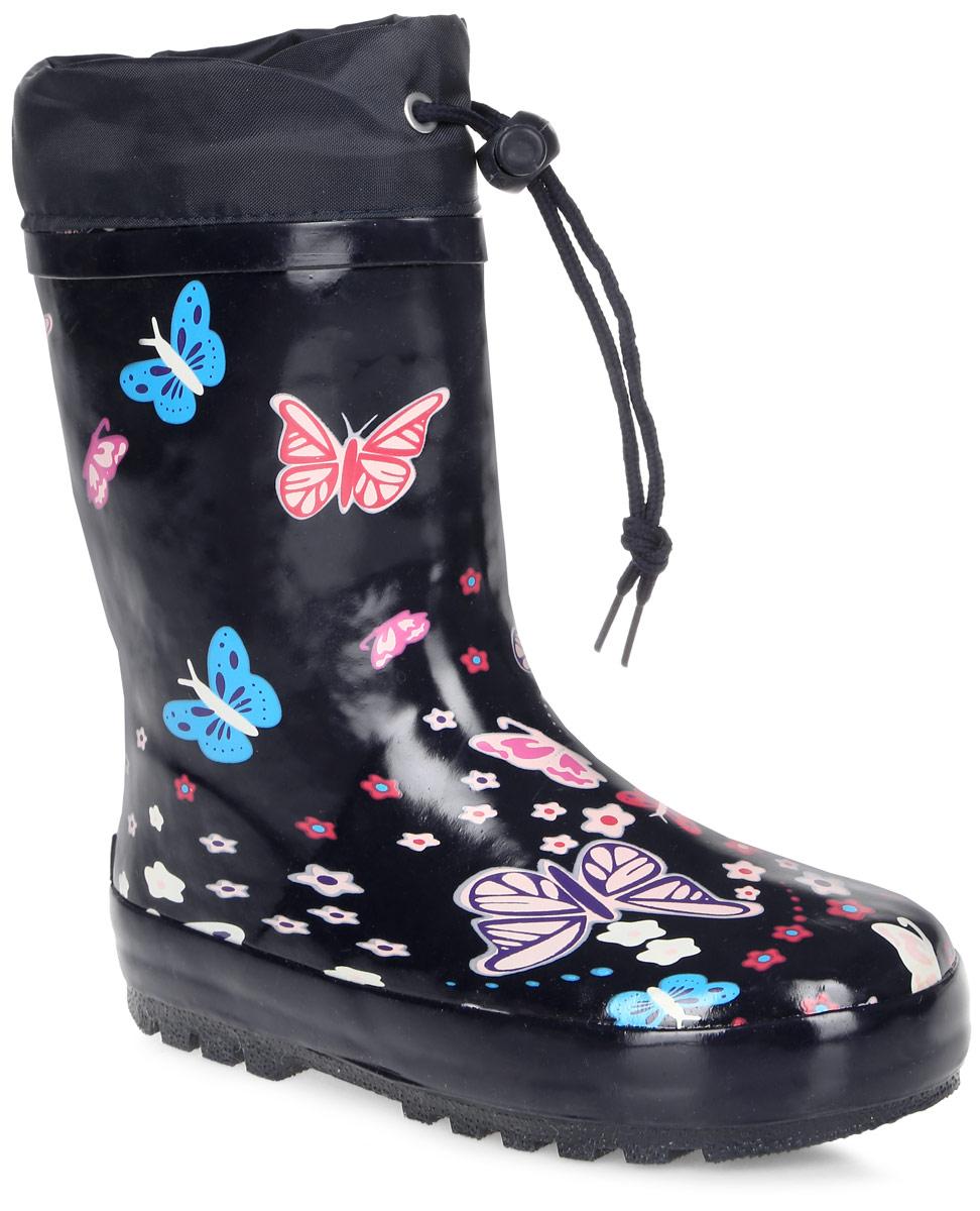 Сапоги резиновые для девочки Flamingo, цвет: черный. 71-HL-0005. Размер 3171-HL-0005Утепленные резиновые сапоги от Flamingo - идеальная обувь в холодную дождливую погоду для вашего ребенка. Сапоги, выполненные из качественной резины, оформлены изображением бабочек и цветочков. Подкладка и стелька из шерсти не дадут ногам вашего ребенка замерзнуть.Текстильный верх голенища регулируется в объеме за счет шнурка с бегунком. Подошва дополнена протектором.