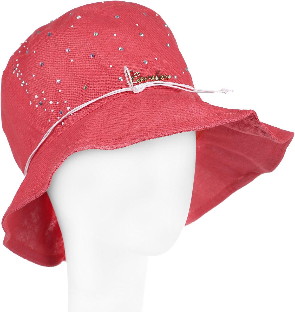 Шляпа женская Level Pro, цвет: коралловый. 381153. Размер 56/58381153Элегантная женская шляпа Level Pro выполнена из натурального льна. Модель с невысокой тульей и загнутыми вниз полями,по тулье оформлена тонким шнурком и сбоку логотипом бренда. Тулья изделия оформлена кристаллами.