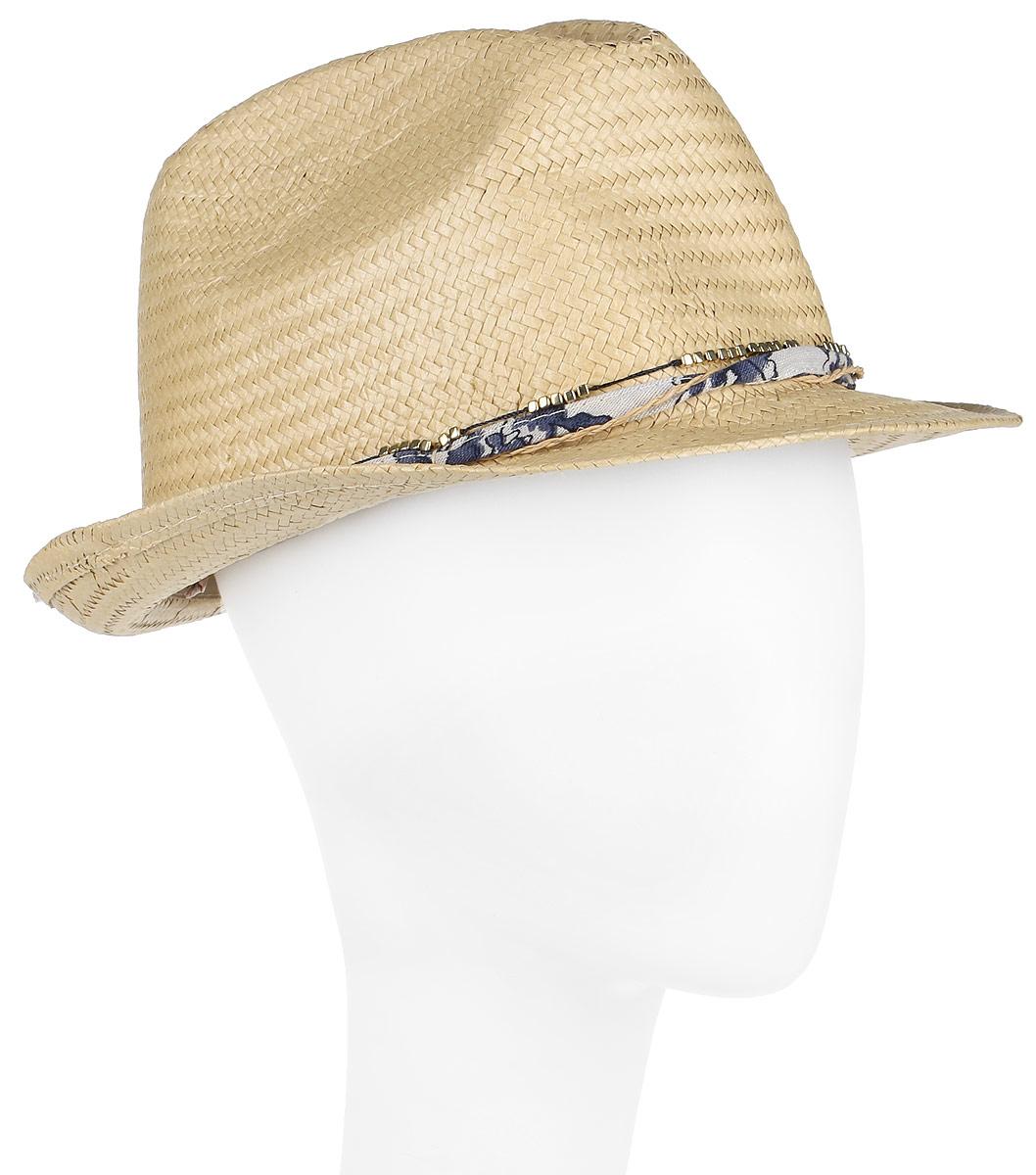 Шляпа женская Canoe Mimi, цвет: бежевый. 1964489. Размер 561964489Женская шляпа-федора Canoe Mimi непременно украсит любой наряд.Шляпа из искусственной соломы вокруг тульи оформлена интересным переплетением. Благодаря своей форме, шляпа удобно садится по голове и подойдет к любому стилю. Плетение шляпы позволяет ей пропускать воздух, что обеспечивает необходимую вентиляцию.Такая шляпа подчеркнет вашу неповторимость и дополнит ваш повседневный образ.