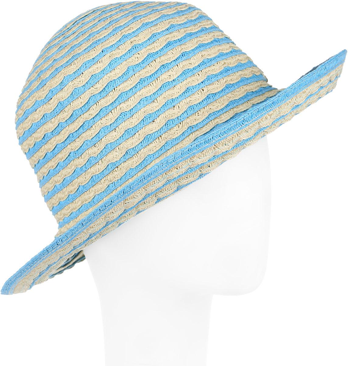Шляпа женская Avanta, цвет: бежевый, голубой. 991942. Размер 55/56991942Стильная летняя шляпа Avanta, выполненная из бумаги с добавлением полиэстера, станет незаменимым аксессуаром для пляжа и отдыха на природе, и обеспечит надежную защиту головы от солнца. Шляпа оформлена плетением и сбоку металлической пластиной с кристаллами. Плетение шляпы обеспечивает необходимую вентиляцию и комфорт даже в самый знойный день. Такая шляпа подчеркнет вашу неповторимость и дополнит ваш повседневный образ.