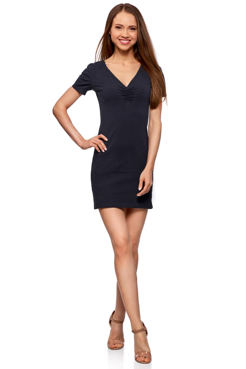 Платье жен oodji Ultra, цвет: темно-синий. 14001082B/47490/7900N. Размер L (48)14001082B/47490/7900NОблегающее платье oodji Ultra выполнено из качественного трикотажа. Модель мини-длины с V-образным вырезом горловиныи короткими рукавамивыгодно подчеркивает достоинства фигуры.