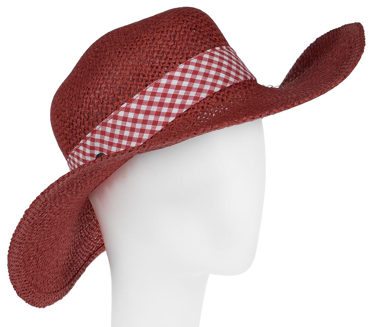 Шляпа женская R.Mountain Clara, цвет: темно-красный, белый. 77-100-18-55. Размер S (55)77-100-18-55Широкополая шляпа R.Mountain Clara украсит любой наряд.Она дополнена вокруг тульи широкой лентой с принтом в клетку, завязанной в бант. Благодаря своей форме, шляпа удобно садится по голове и подойдет к любому стилю. Модель легко восстанавливает свою форму после сжатия.Такая шляпка подчеркнет вашу неповторимость и дополнит ваш повседневный образ.
