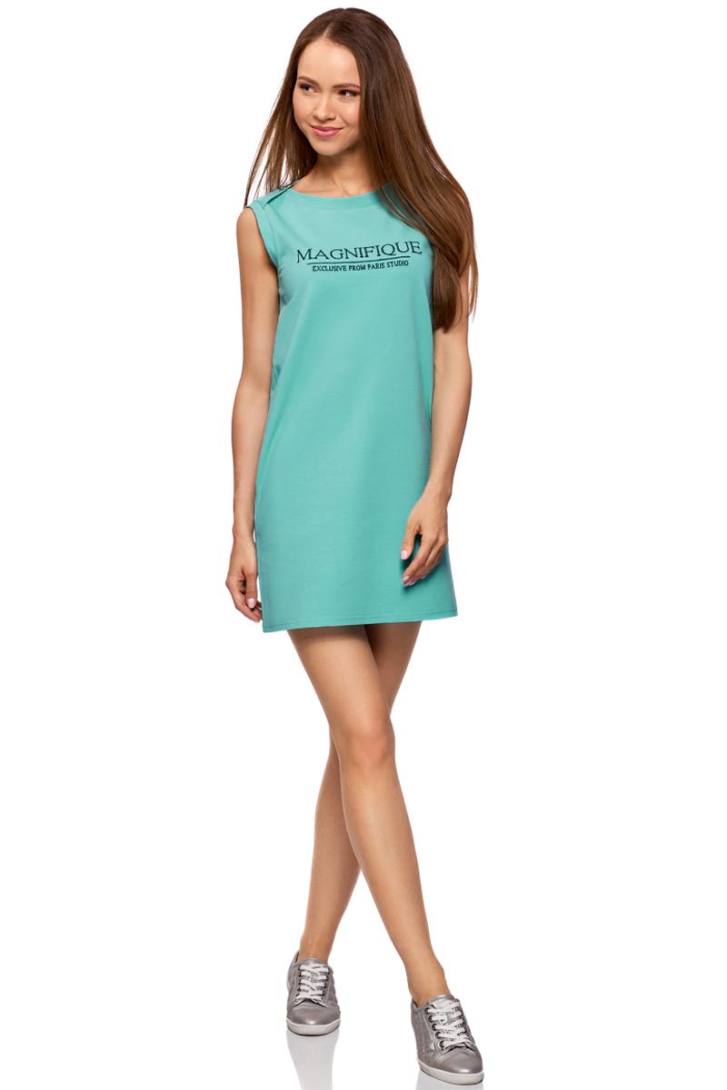 Платье oodji Ultra, цвет: бирюзовый, синий. 14005074-3/46149/7375P. Размер M (46)14005074-3/46149/7375PЛегкое платье прямого силуэта выполнено из эластичного хлопка. Модель без рукавов и с круглым вырезом горловины оформлено надписью.