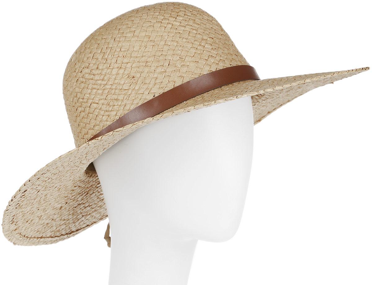 Шляпа женская Canoe Cecile, цвет: темно-бежевый. 1964415. Размер 571964415Очаровательная женская шляпа Canoe Cecile, выполненная из искусственной соломы, станет незаменимым аксессуаром для пляжа и отдыха на природе. Широкие поля шляпы обеспечат надежную защиту от солнечных лучей.Шляпа оформлена декоративным ремешком из искусственной кожи. Плетение шляпы обеспечивает необходимую вентиляцию и комфорт даже в самый знойный день. Шляпа легко восстанавливает свою форму после сжатия.Стильная шляпа с элегантными волнистыми полями подчеркнет вашу неповторимость и дополнит ваш повседневный образ.