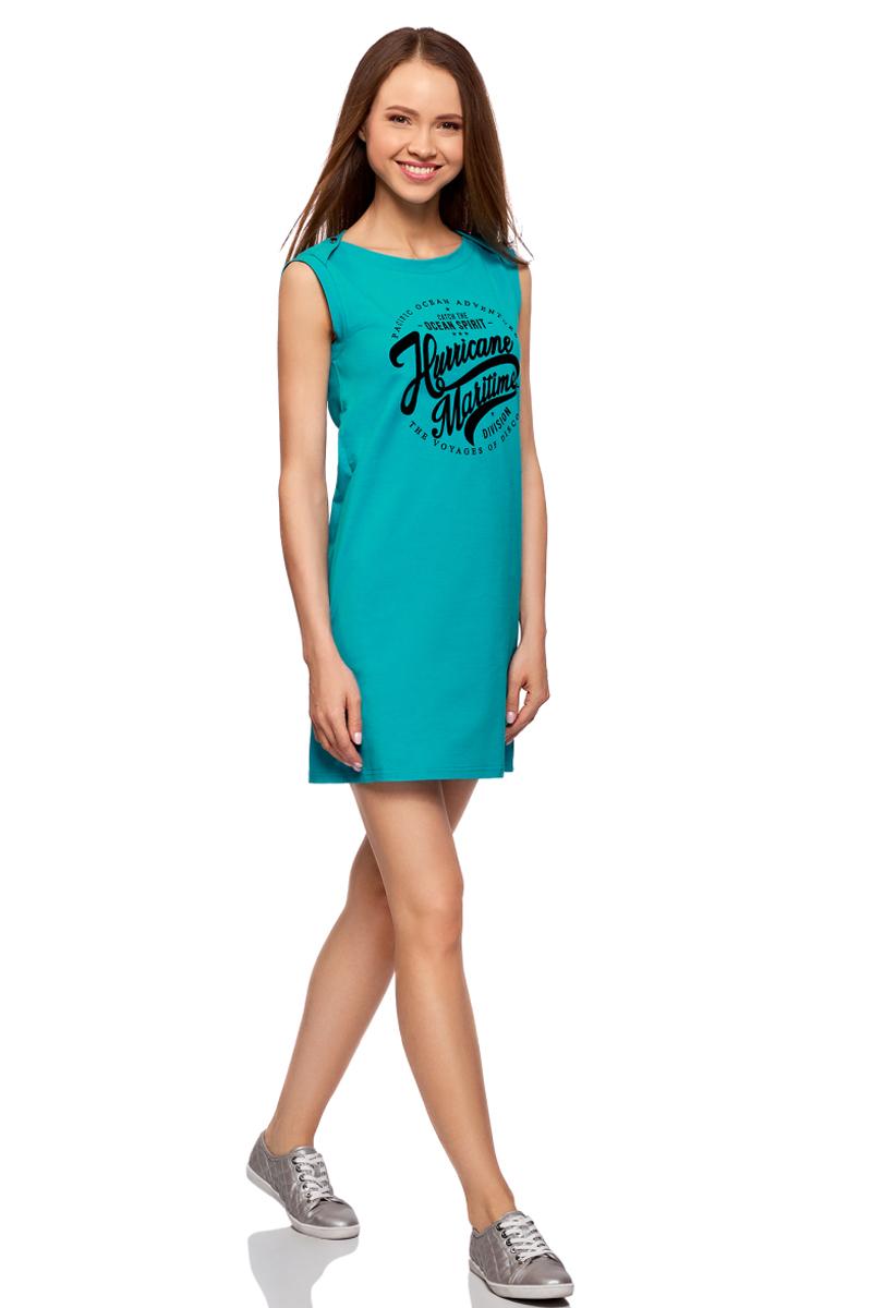 Платье oodji Ultra, цвет: бирюзовый, черный. 14005074-5/46149/7329P. Размер S (44)14005074-5/46149/7329PПлатье прямого силуэта из эластичного хлопка оформлено надписью спереди. Модель без рукавов и с круглым вырезом горловины.