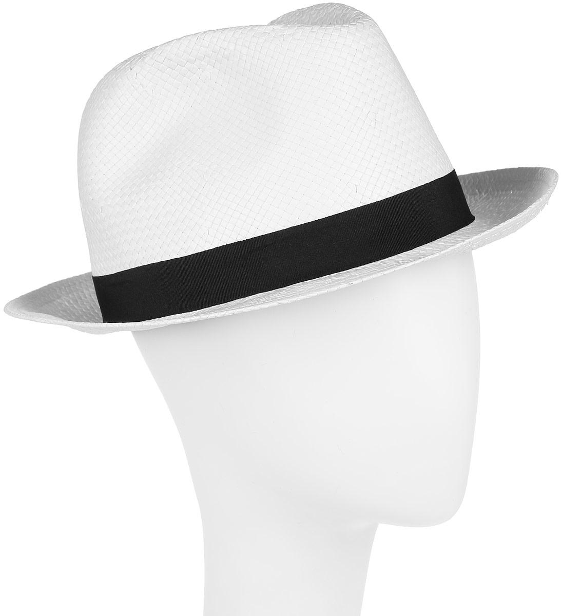 Шляпа женская Canoe Koko, цвет: белый. 1964331. Размер 561964331Шляпа-федора Canoe Koko непременно украсит любой наряд.Шляпа из искусственной соломы вокруг тульи оформлена трикотажной лентой и бантом с логотипом фирмы. Благодаря своей форме, шляпа удобно садится по голове и подойдет к любому стилю. Плетение шляпы позволяет ей пропускать воздух, что обеспечивает необходимую вентиляцию.Такая шляпа подчеркнет вашу неповторимость и дополнит ваш повседневный образ.