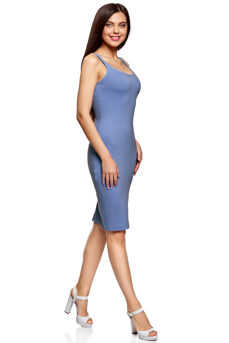 Платье oodji Ultra, цвет: синий. 14015007-2B/47420/7502N. Размер S (44)14015007-2B/47420/7502NЛегкое обтягивающее платье oodji Ultra, выгодно подчеркивающее достоинства фигуры, выполнено из качественного эластичного хлопка. Модель миди-длины с круглым вырезом горловины и узкими бретелями дополнена разрезом на юбке с задней стороны. Мягкая ткань приятна на ощупь и комфортна в носке.