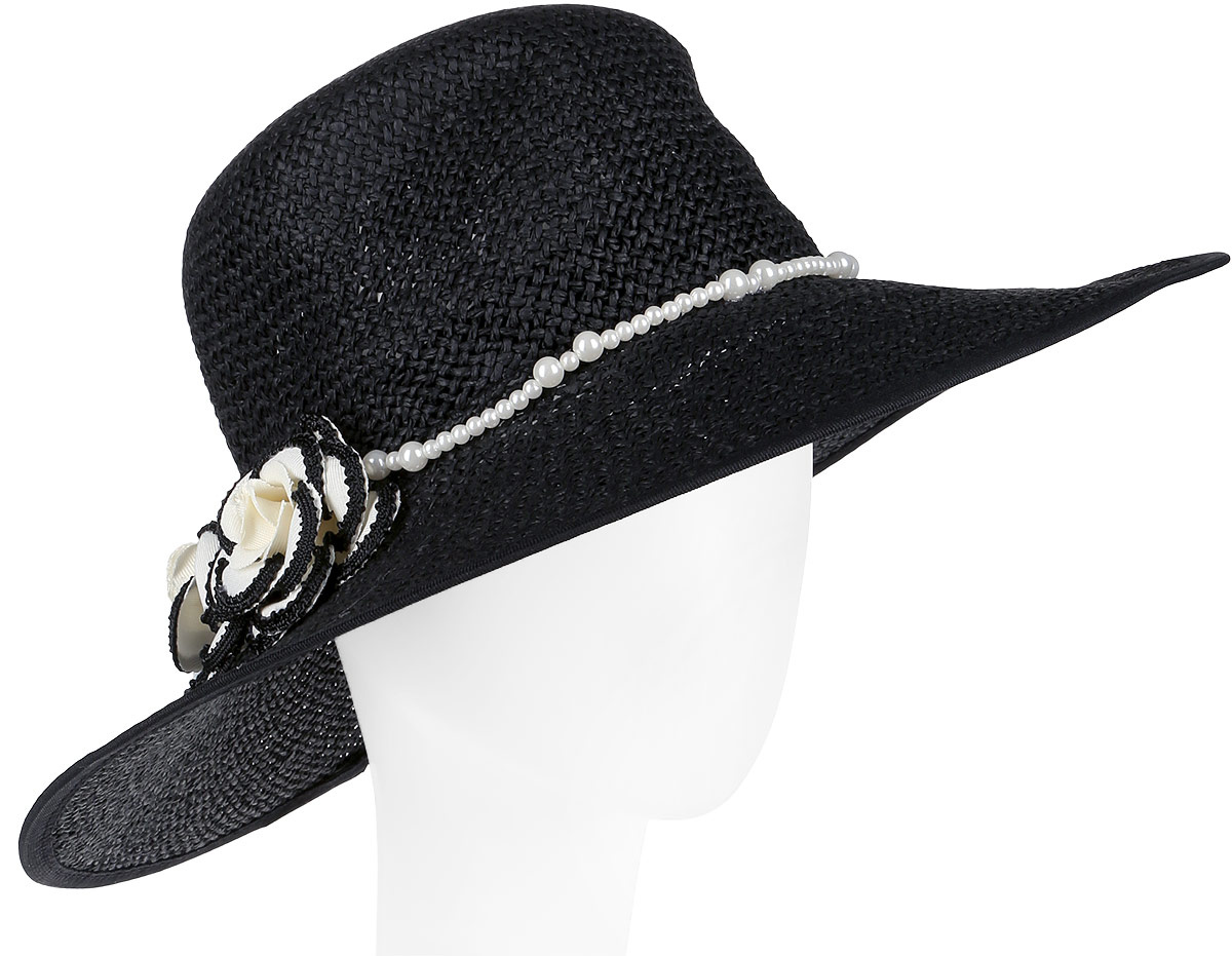 Шляпа женская Fabretti, цвет: черный. G29-2. Размер универсальныйG29-2 BLACKСтильная шляпа от Fabretti для пляжного отдыха и прогулок в солнечные дни.