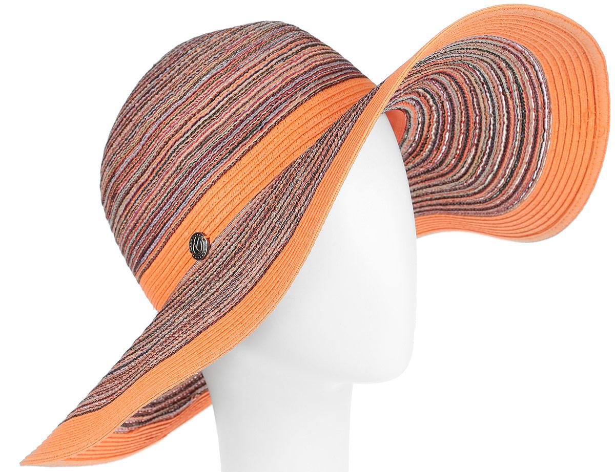 Шляпа женская R.Mountain Lisbeth, цвет: оранжевый, мультиколор. 77-126-13-56. Размер S/M (56)77-126-13-56Восхитительная яркая шляпа с широкими полями R.Mountain Lisbeth, выполненная из хлопка с добавлением полиэстера,сплетена таким образом, что контрастные нити создают вид опоясывающих шляпу лент - вокруг тульи и по краям полей.Шляпа оформлена небольшим металлическим логотипом фирмы. Благодаря своей форме, шляпа удобно садится по голове и подойдет к любому стилю. Шляпа легко восстанавливает свою форму после сжатия.Хороший выбор для прогулок по пляжу и летнему городу.