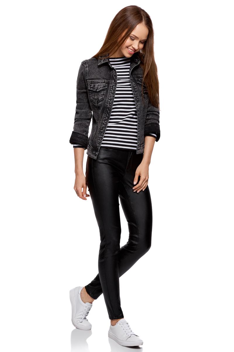 Жакет женский oodji Ultra, цвет: черный джинс. 11109035/46846/2900W. Размер 38-170 (44-170)11109035/46846/2900WСтильный джинсовый жакет выполнен из комбинированного материала. Модель с длинными рукавами и отложным воротником дополнена двумя нагрудными карманами с клапанами. Сзади жакет оформлен надписью.