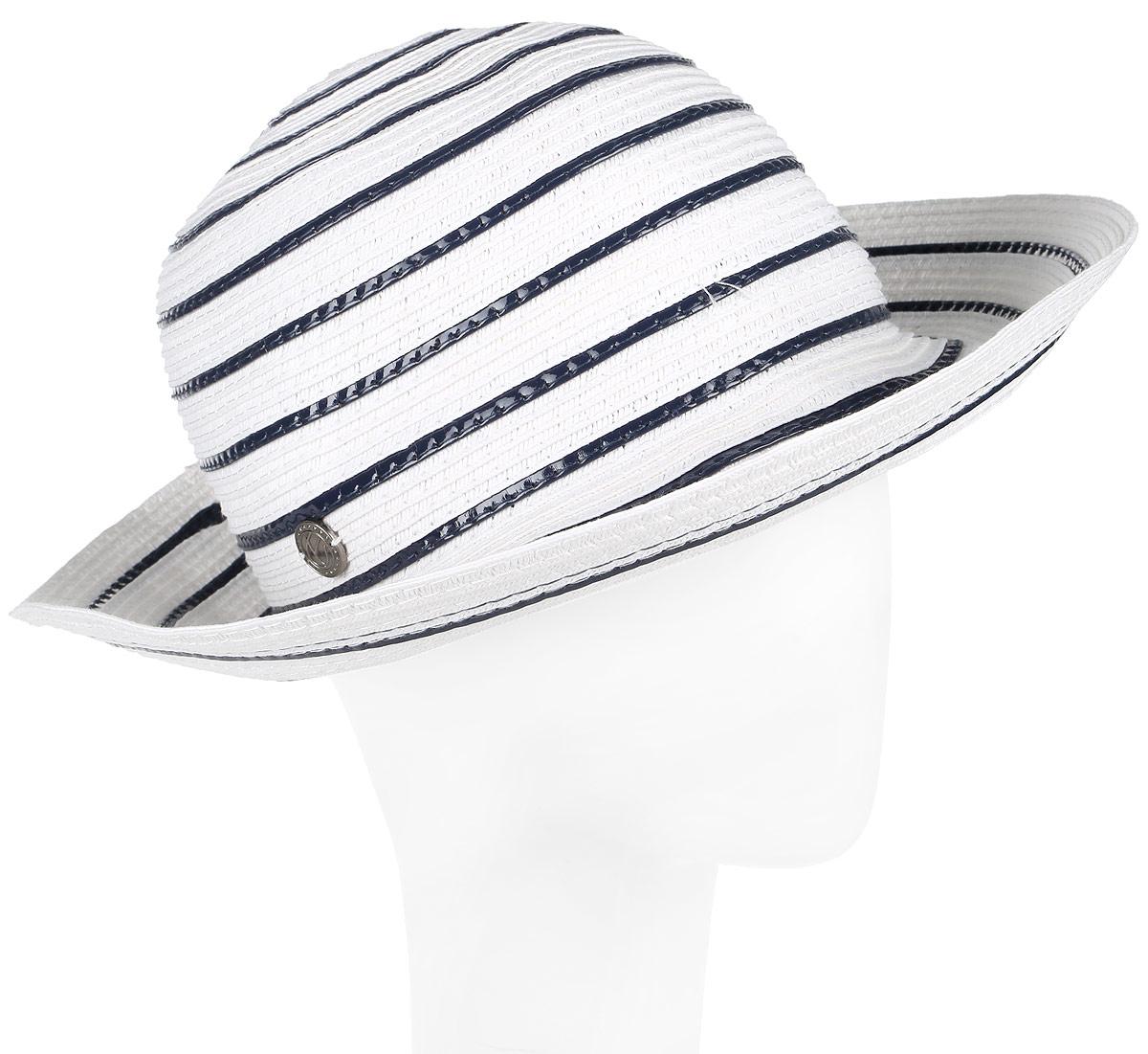 Шляпа женская R.Mountain Romy, цвет: белый, темно-синий. 77-139-38. Размер S/M (55/57)77-139-38Летняя женская шляпа R.Mountain Romy станет незаменимым аксессуаром для пляжа и отдыха на природе. Такая шляпка не только защитит вас от солнца, но и станет стильным дополнением вашего образа.Шляпа оформлена небольшим металлическим логотипом фирмы в морской тематике. Плетение шляпы обеспечивает необходимую вентиляцию и комфорт даже в самый знойный день. Шляпа легко восстанавливает свою форму после сжатия.Эта элегантная легкая шляпка подчеркнет вашу неповторимость и дополнит ваш повседневный образ.