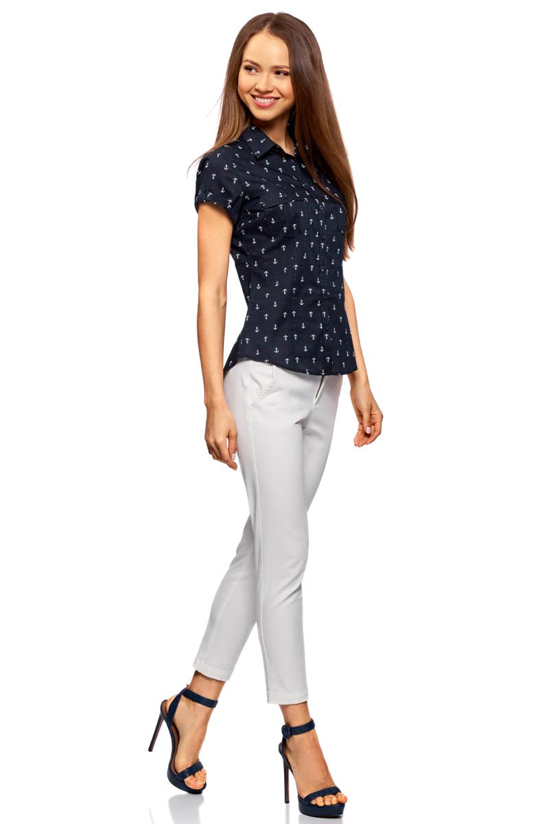Блузка женская oodji Ultra, цвет: темно-синий, белый. 11402084-3B/12836/7910Q. Размер 40-170 (46-170)11402084-3B/12836/7910QРубашка хлопковая с нагрудными карманами