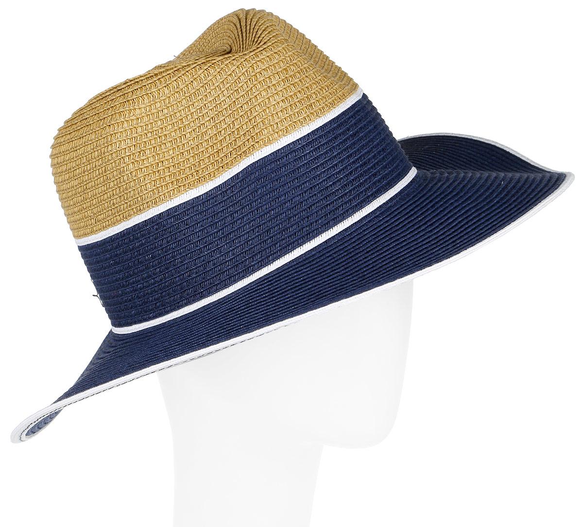 Шляпа женская Fabretti, цвет: бежевый, голубой. G33-3/5. Размер универсальныйG33-3/5 BEIGE/BLUEСтильная шляпа от Fabretti для пляжного отдыха и прогулок в солнечные дни.