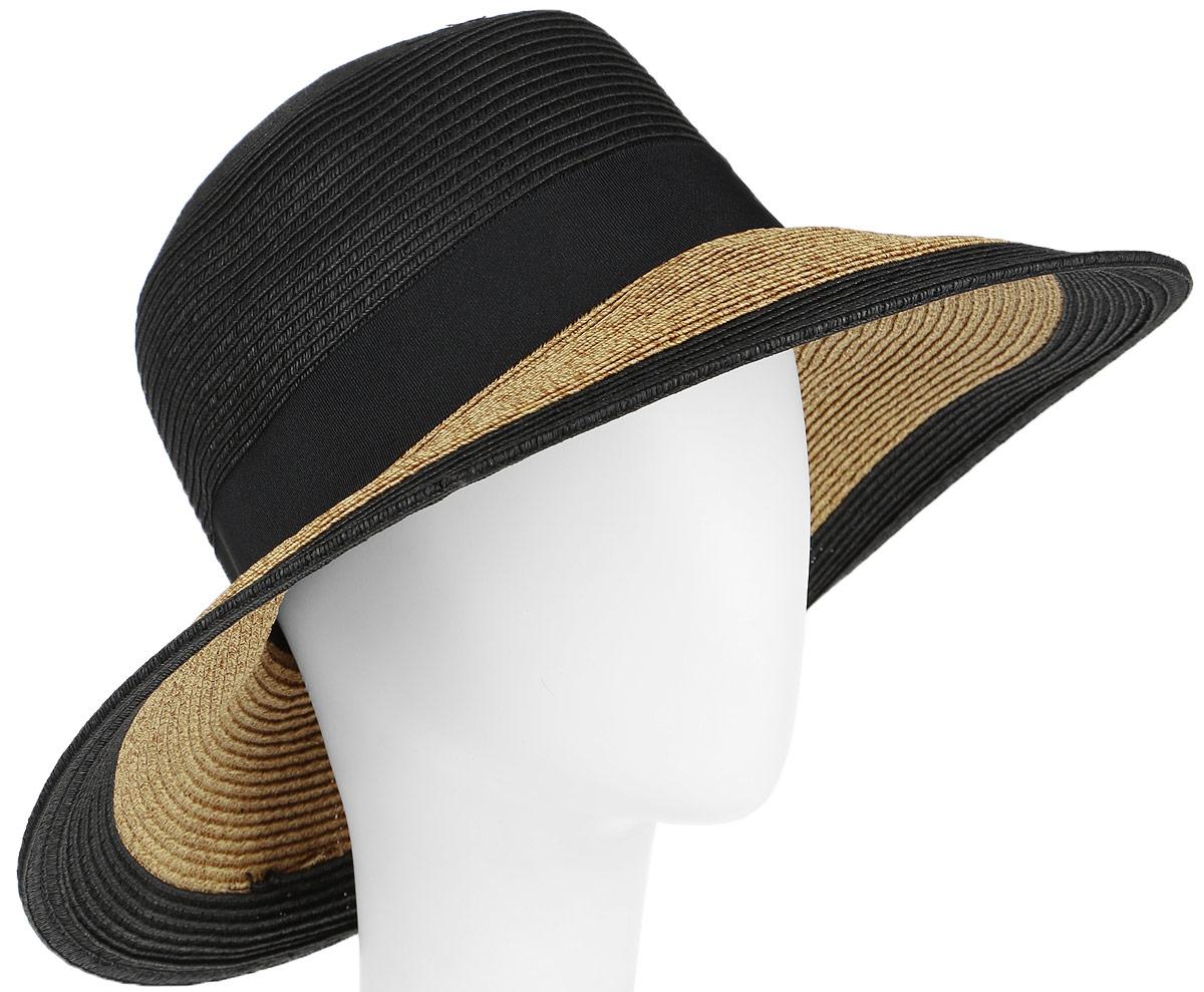 Шляпа женская Canoe Elegance, цвет: черный, коричневый. 1966131. Размер 561966131Очаровательная летняя шляпа Canoe Elegance, выполненная из искусственной соломы и прочного полиэстера, станет незаменимым аксессуаром для пляжа и отдыха на природе. Широкие поля шляпы обеспечат надежную защиту от солнечных лучей.Шляпа оформлена декоративной лентой с бантом. Плетение шляпы обеспечивает необходимую вентиляцию и комфорт даже в самый знойный день. Шляпа легко восстанавливает свою форму после сжатия.Стильная шляпа с элегантными волнистыми полями подчеркнет вашу неповторимость и дополнит ваш повседневный образ.