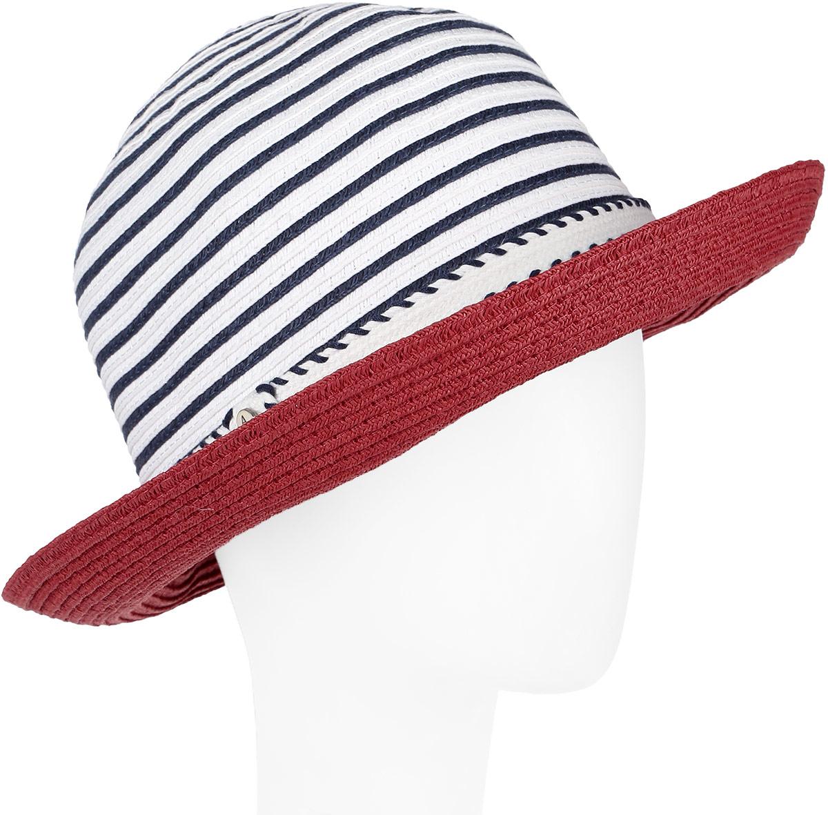 Шляпа женская Avanta, цвет: красный, белый, синий. 991950. Размер 55/56991950Элегантная женская шляпа Avanta выполнена из полиэстера с добавлением бумаги. Модель с невысокой тульей и загнутыми вверх полями. Тулья модели дополнена принтом в полоску.