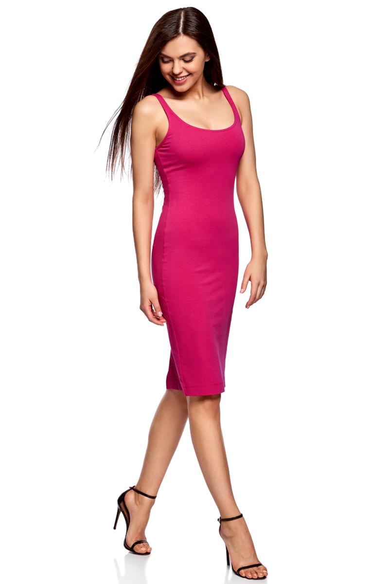 Платье oodji Ultra, цвет: фуксия. 14015007-2B/47420/4700N. Размер XS (42)14015007-2B/47420/4700NЛегкое обтягивающее платье oodji Ultra, выгодно подчеркивающее достоинства фигуры, выполнено из качественного эластичного хлопка. Модель миди-длины с круглым вырезом горловины и узкими бретелями дополнена разрезом на юбке с задней стороны. Мягкая ткань приятна на ощупь и комфортна в носке.