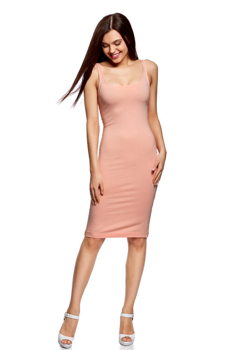 Платье oodji Ultra, цвет: персиковый. 14015007-2B/47420/5400N. Размер XXS (40)14015007-2B/47420/5400NЛегкое обтягивающее платье oodji Ultra, выгодно подчеркивающее достоинства фигуры, выполнено из качественного эластичного хлопка. Модель миди-длины с круглым вырезом горловины и узкими бретелями дополнена разрезом на юбке с задней стороны. Мягкая ткань приятна на ощупь и комфортна в носке.